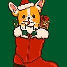 Santa Boot Corgi by fluffymafi