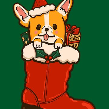 Santa Boot Corgi by fluffymafi