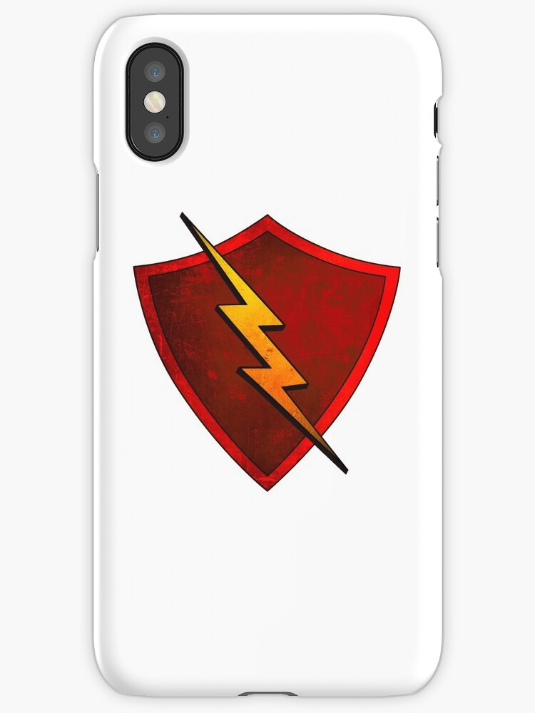 Superhero Design Red Shield With Lightning Bolt Iphone Cases