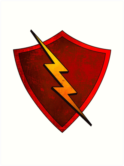 Superhero Design Red Shield With Lightning Bolt Art Prints By