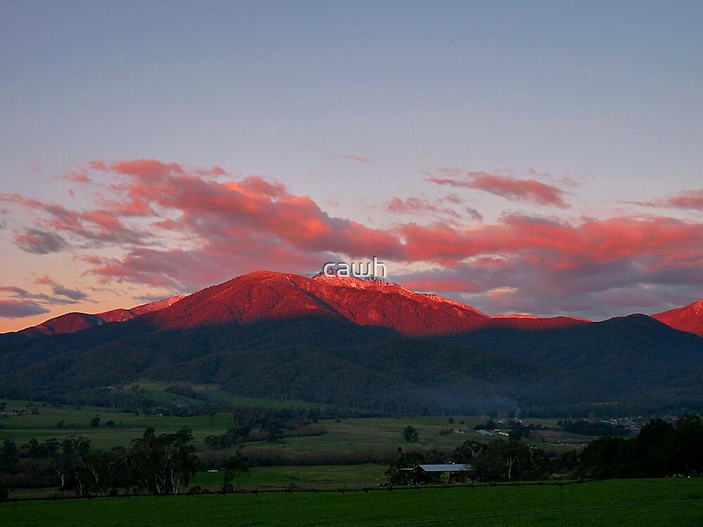 Red Snowy Peaks by cawh
