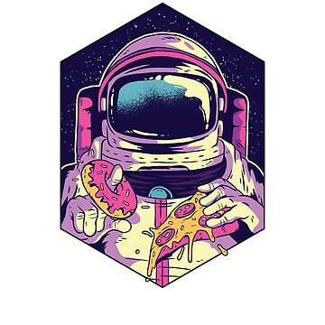 Funny Astronaut Eating Pizza And Donuts Shirt - Space Gift by 6thave