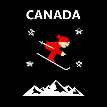 Canada Flying Red Downhill Skier Color by TinyStarCanada