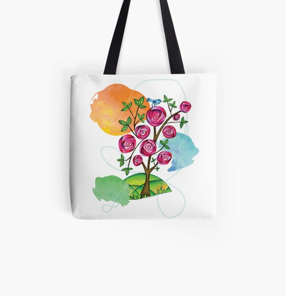 Rose Tree & Bluebird Pillows and Totes All Over Print Tote Bag