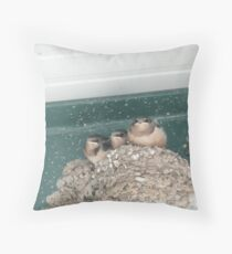 Baby Swallows in their Nest. Throw Pillow