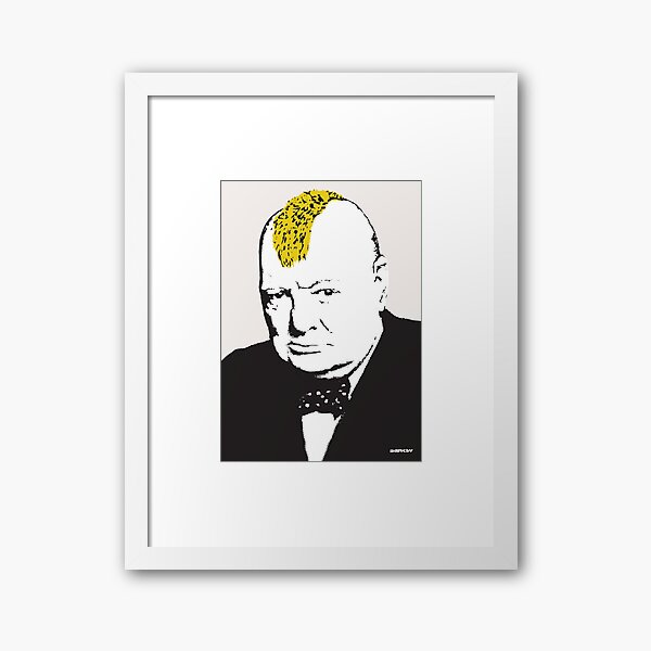 Banksy graffiti Pink Winston Churchill with Punk Mohawk haircut on beige background HD HIGH QUALITY ONLINE STORE Framed Art Print
