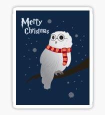 White Christmas Owl Sticker