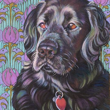 Flat-coated Retriever ~ Floral Pattern by Janeoooo