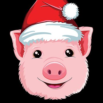 Pig Christmas T-Shirt Santa Hat Kids Women Farmer Holiday by 14thFloor
