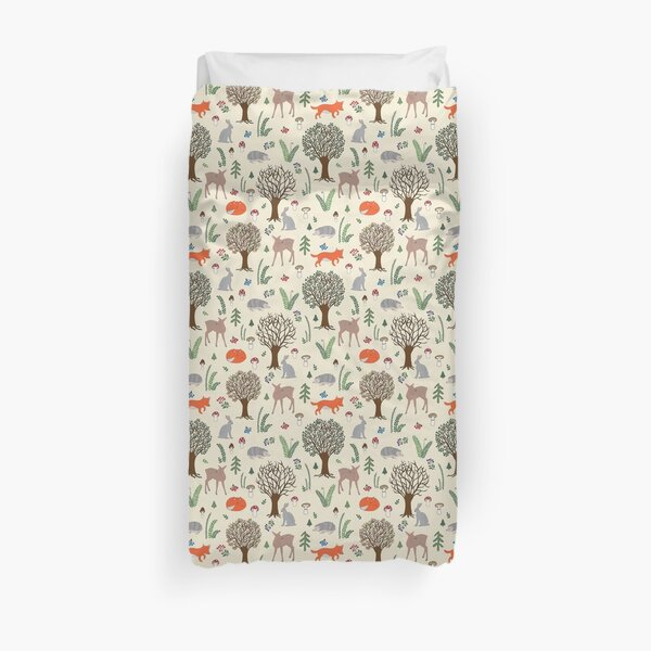 Cute forest woodland animals seamless repeat pattern Duvet Cover
