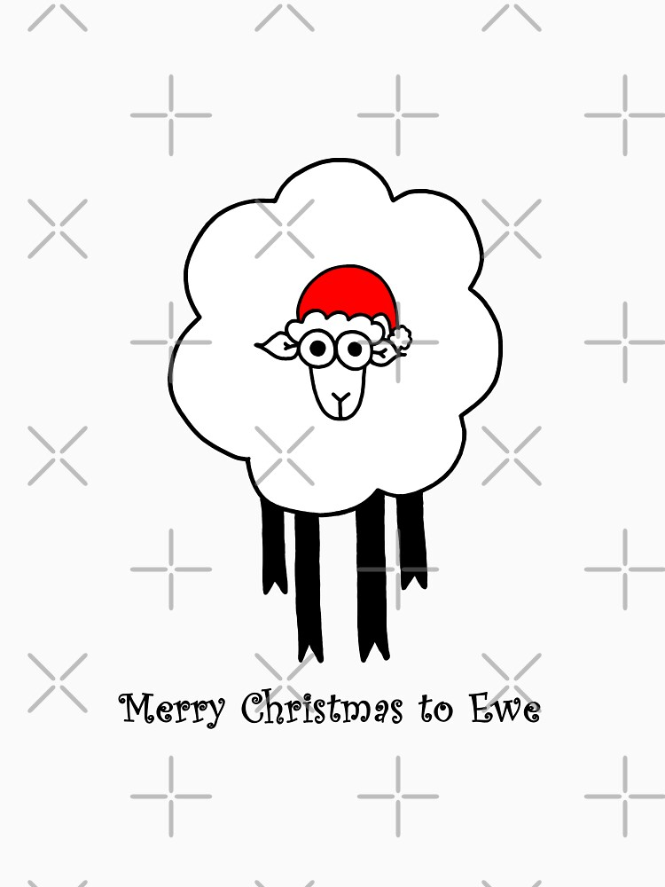 Merry Christmas to Ewe - Sheep with Santa Hat by AdrienneBody