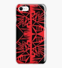 Geometric vector abstraction in red and black iPhone Case/Skin