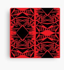 Geometric vector abstraction in red and black Canvas Print
