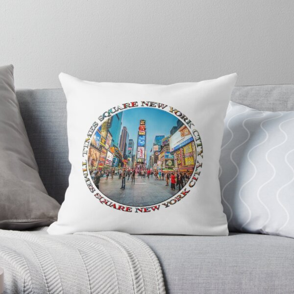 Times Square Sparkle (badge on white) Throw Pillow