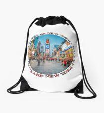 Times Square Sparkle (badge on white) Drawstring Bag