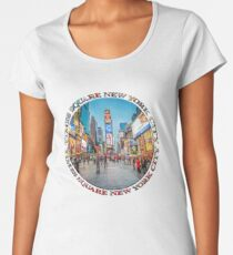 Times Square Sparkle (badge on white) Premium Scoop T-Shirt