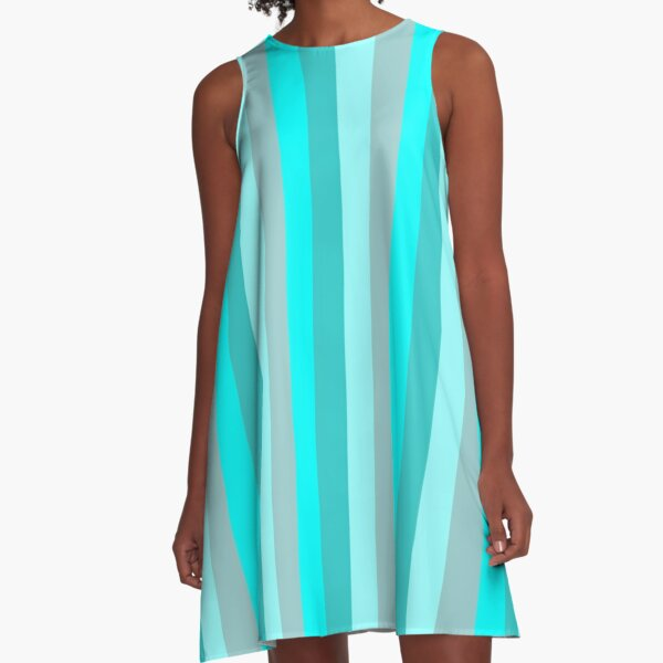 The Stripe Collection - Cool Teal A-Line Dress