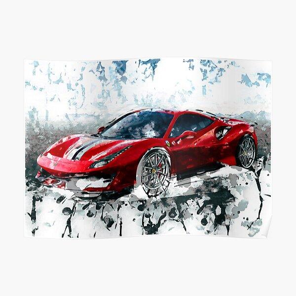 """2016 Ferrari 488 supercar  Poster 24/""""x36/"""" HD"""