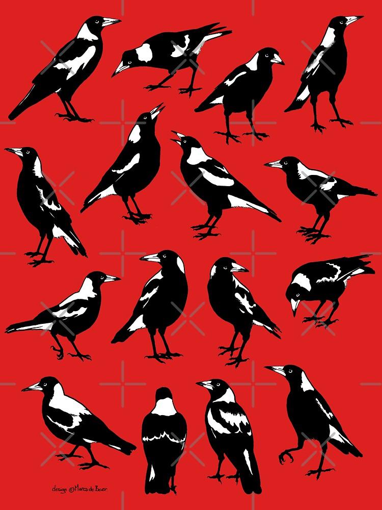 MAGPIES - Australian native birds (orange and tan) by pavlovais