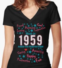 Made In 1959 - Aged To Perfection Women's Fitted V-Neck T-Shirt