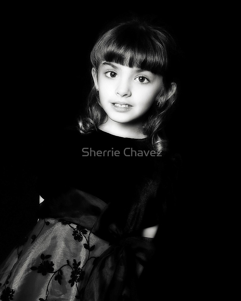 Christmas Dress in B&W by Sherrie Chavez