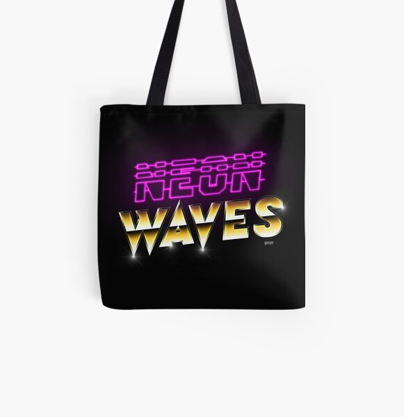 Neon Waves All Over Print Tote Bag