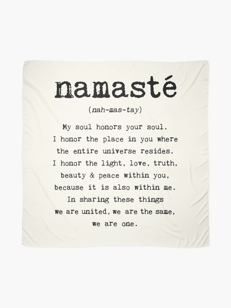 Alternate view of Namaste. Scarf