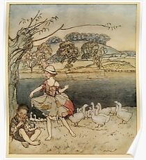 English Fairy Tales by Flora Annie Webster Steel art Arthur Rackham 1922 0081 Tattercoats Dancing While Pighead Pipes Poster
