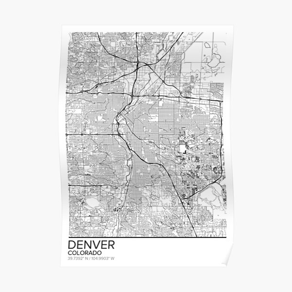 Denver map poster print wall art, Colorado gift printable, Home and Nursery, Modern map decor for office, Map Art, Map Gifts Poster