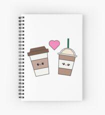 Cute coffee cups in love Spiral Notebook