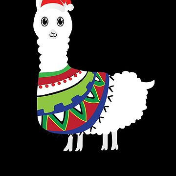 Llama With Santa Claus Hat Christmas Holiday by BullQuacky
