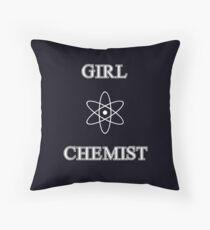 Girl Chemist Throw Pillow
