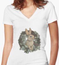 Winter Rabbit Fitted V-Neck T-Shirt