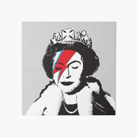Banksy UK England God Save the Queen Elisabeth with David Bowie rockband face makeup HD HIGH QUALITY ONLINE STORE Art Board Print