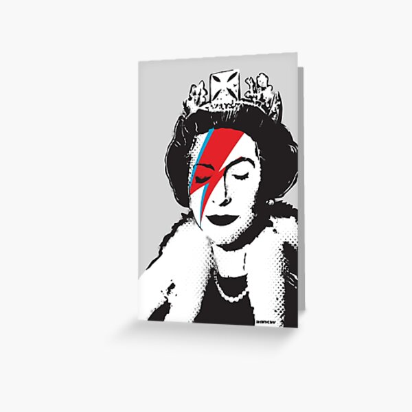 Banksy UK England God Save the Queen Elisabeth with David Bowie rockband face makeup HD HIGH QUALITY ONLINE STORE Greeting Card