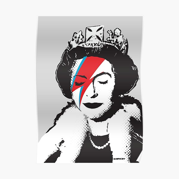 Banksy UK England God Save the Queen Elisabeth with David Bowie rockband face makeup HD HIGH QUALITY ONLINE STORE Poster