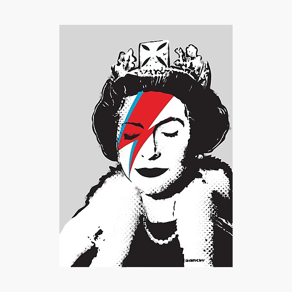 Banksy UK England God Save the Queen Elisabeth with David Bowie rockband face makeup HD HIGH QUALITY ONLINE STORE Photographic Print