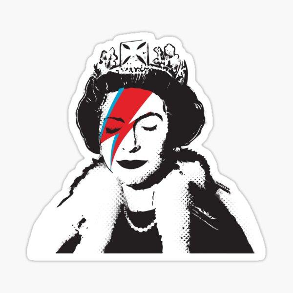 Banksy Royaume-Uni Angleterre God Save the Queen Elisabeth avec le maquillage de visage David Bowie rockband HD BOUTIQUE EN LIGNE DE HAUTE QUALITÉ Sticker