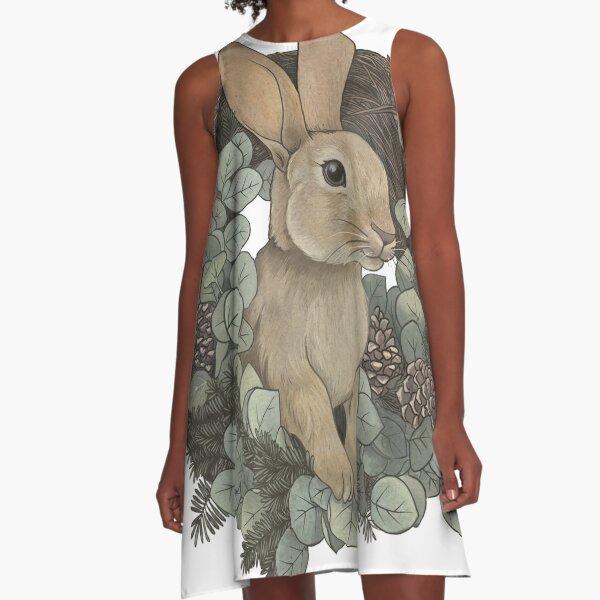 Winter Rabbit A-Line Dress