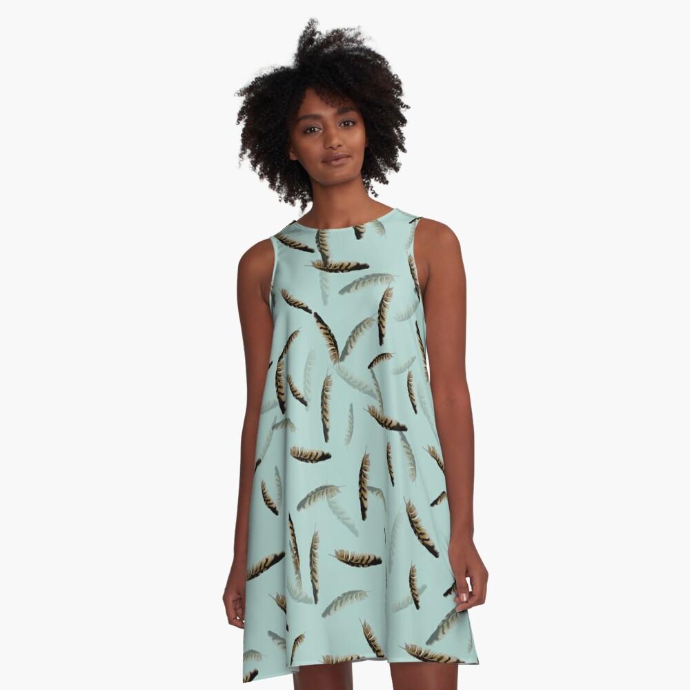 Feathers on blue A-Line Dress