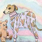 Greyhound Dog in her Pyjamas  by SusanAlisonArt