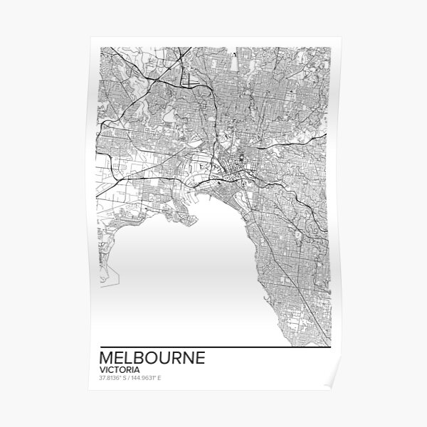 Melbourne map poster print wall art, Victoria gift printable, Home and Nursery, Modern map decor for office, Map Art, Map Gifts Poster