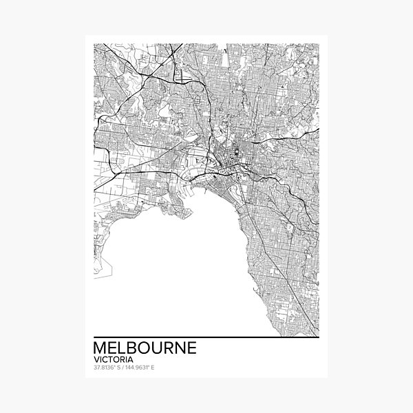 Melbourne map poster print wall art, Victoria gift printable, Home and Nursery, Modern map decor for office, Map Art, Map Gifts Photographic Print