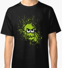 Splatoon Black Squid with Blank Eyes on Green Splatter Mask Classic T-Shirt