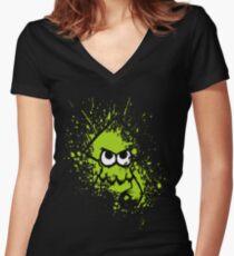 Splatoon Black Squid with Blank Eyes on Green Splatter Mask Women's Fitted V-Neck T-Shirt