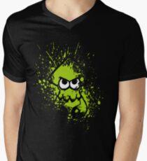 Splatoon Black Squid with Blank Eyes on Green Splatter Mask Men's V-Neck T-Shirt