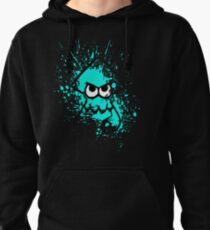 Sudadera con capucha Splatoon Black Squid with Blank Eyes en Cyan Splatter Mask