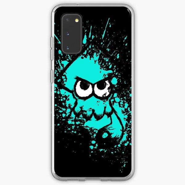 Splatoon Black Squid with Blank Eyes on Cyan Splatter Mask Samsung Galaxy Soft Case