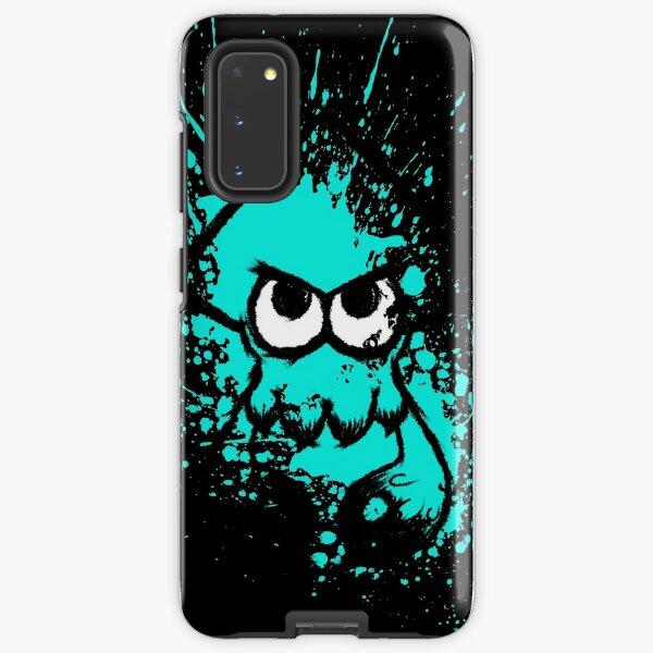 Splatoon Black Squid with Blank Eyes on Cyan Splatter Mask Samsung Galaxy Tough Case