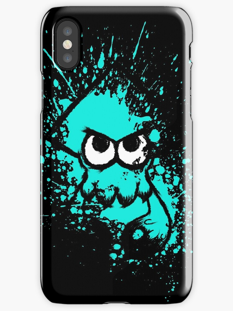 Splatoon Black Squid with Blank Eyes on Cyan Splatter Mask by Martin Mothiron